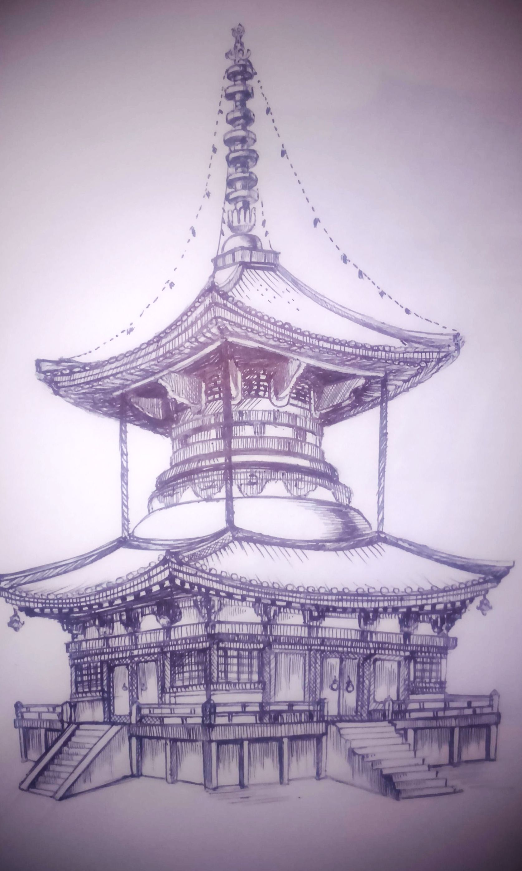 1675x2793 Chinese Temple 1 Sketching Temple, Tattoo And Oriental