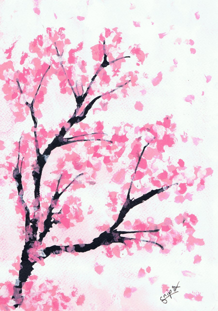 717x1024 Cherry Blossom Tree Drawing Cherry Blossom Tree. Elegant Cherry