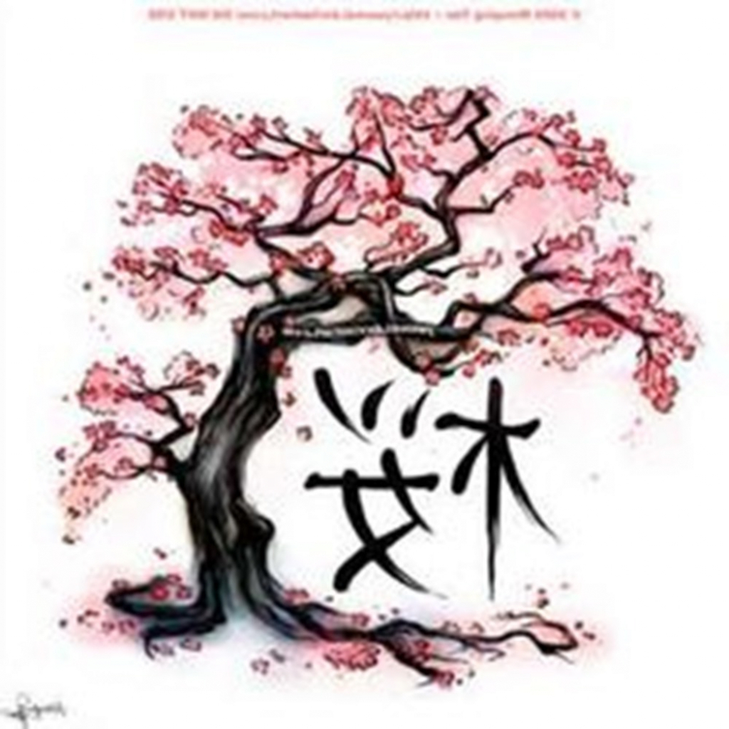 1024x1024 Drawing Of A Cherry Blossom Tree Cherry Blossom Tree Drawing