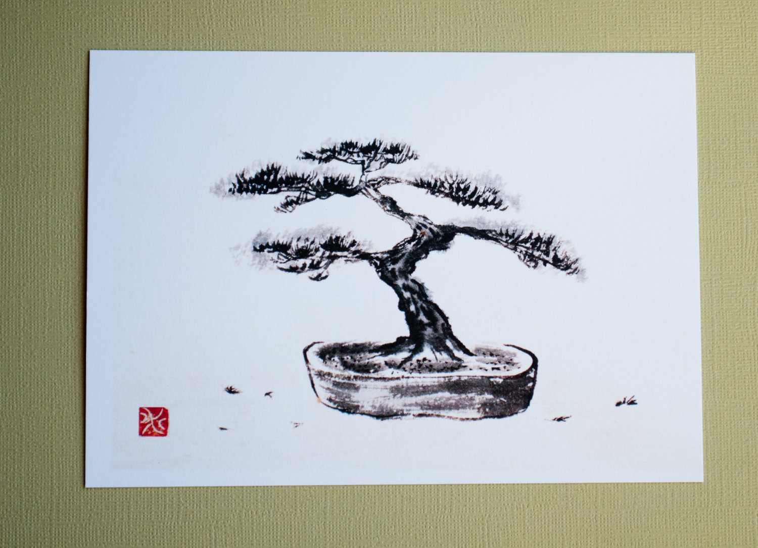 1500x1085 Print Bonsai Tree Japanese Ink Drawing Sumi E