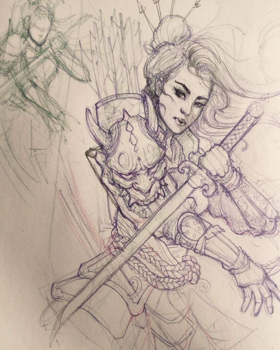 1080x1350 Geisha Warrior Sketch In Progress.