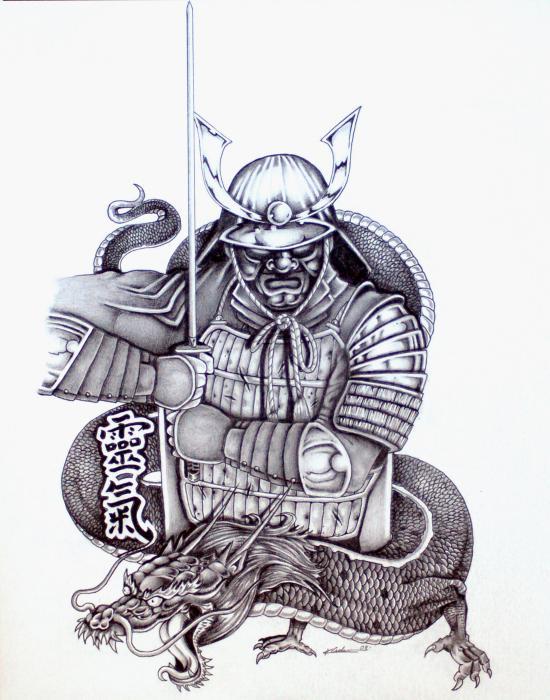 550x700 Grey Ink Japanese Warrior Tattoo Design