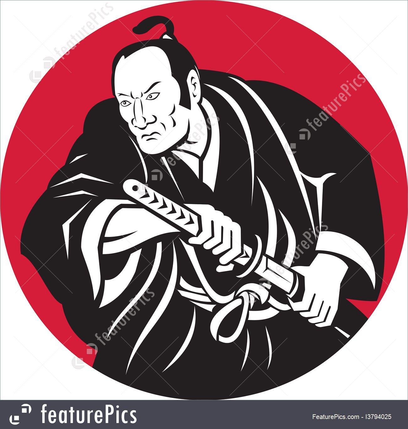 1300x1369 Illustration Of Japanese Samurai Warrior Drawing Sword