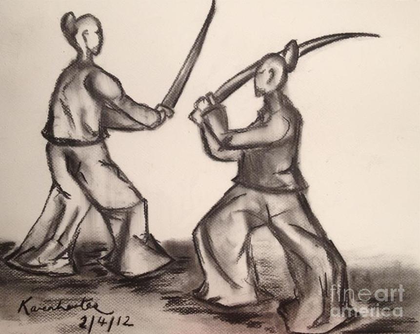 861x686 Japanese Samurai Warriors Drawing By Karen Larter