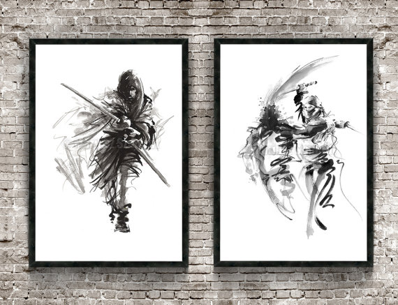 570x437 Samurai Warrior Set Of 2 Painting Japanese Samurai Poster