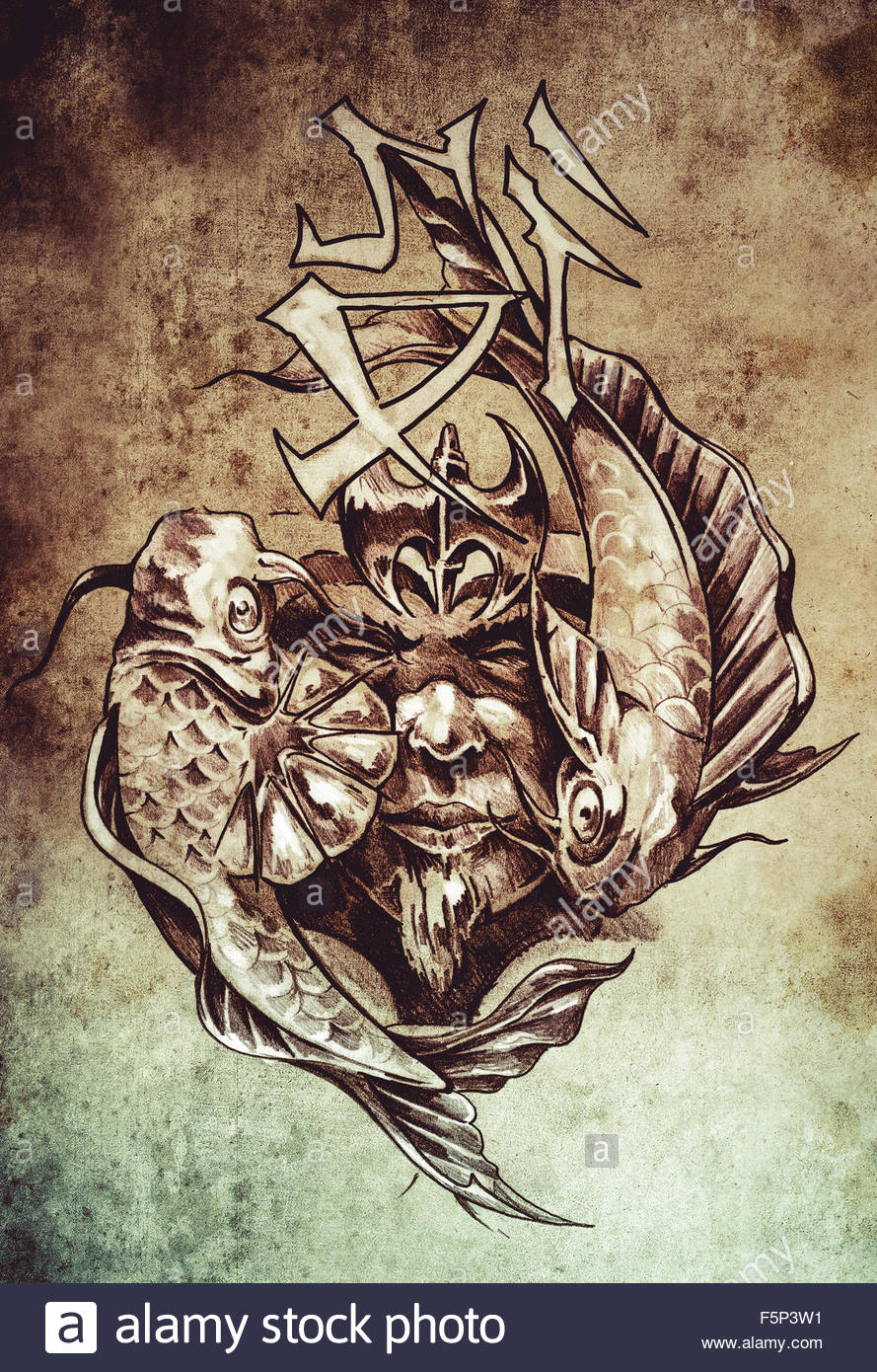 889x1390 Tattoo Art, Sketch Of A Japanese Warrior In Vintage Style Stock