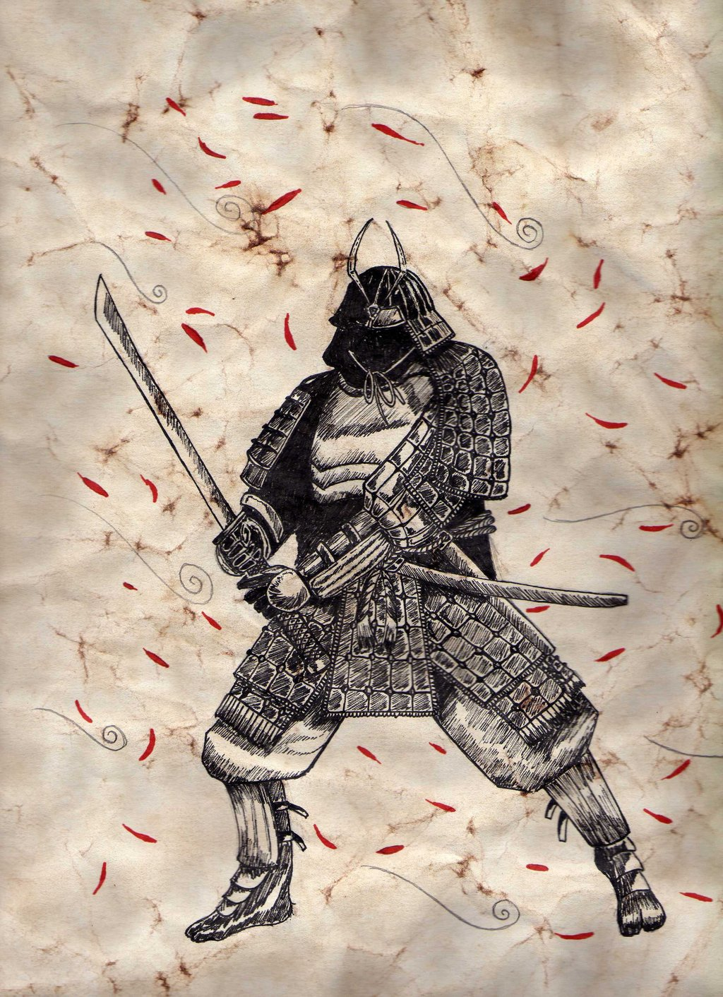 Japanese Warrior Drawing At GetDrawings