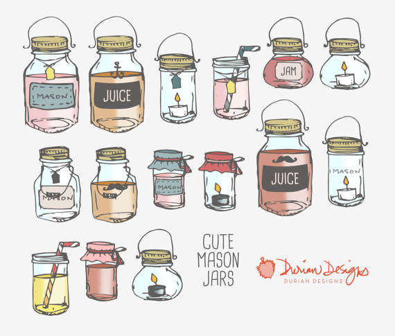 570x485 Mason Jars Clipart Commercial Use, Glass Jar Juice Containers Food