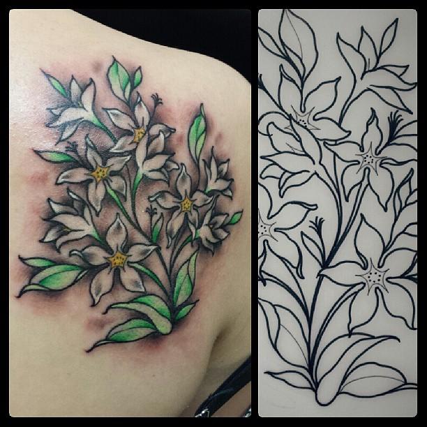 612x612 10 Splendid Jasmine Flower Tattoos