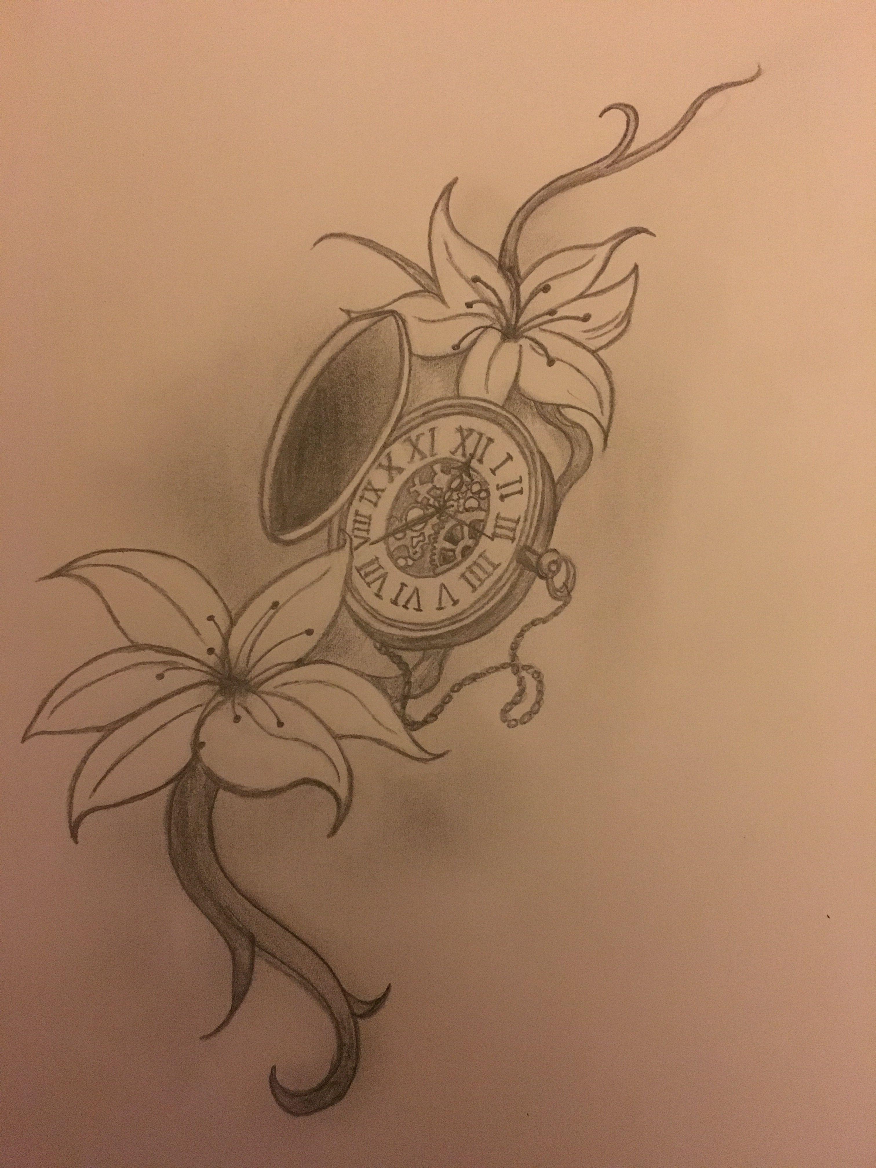 3024x4032 Pocket Watch Clock Jasmine Flowers Potential Tattoo Sketch Drawing