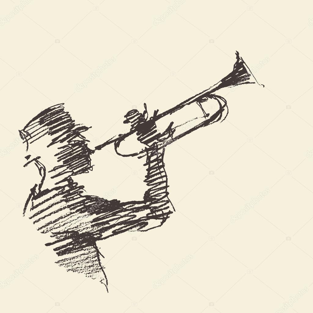 1024x1024 Jazz Poster Man Playing Trumpet Drawn Sketch Stock Vector Grop