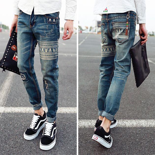 630x630 Fg1509 Men's Fashion Print Jeans Drawing Straight Rock Jeans Pants