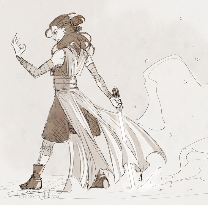 700x690 Promise You'Ll Remember Me Toherrys The Last Jedi Rey Sketch