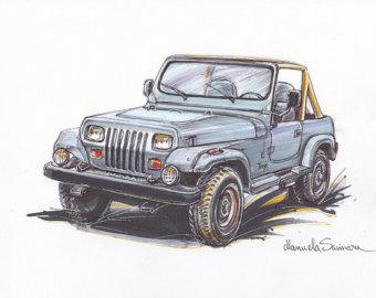 340x270 Classic Car Drawing Illustration Antique Truck Car Print Retro