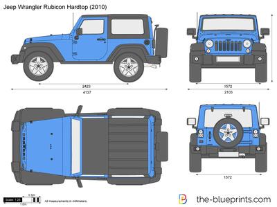 400x299 Jeep Wrangler Rubicon Hardtop Vector Drawing