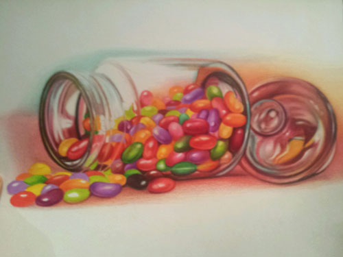 500x375 Colored Pencil Demonstration, How To Draw Jelly Beans, Burnishing