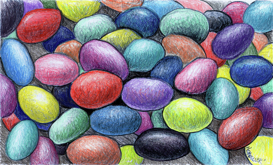 900x545 Colorful Beans Drawing By Nancy Mueller