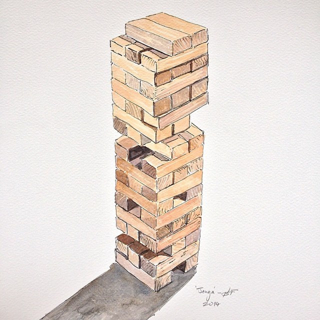 640x640 A Pen And Watercolour Drawing Of A Game Of Jenga