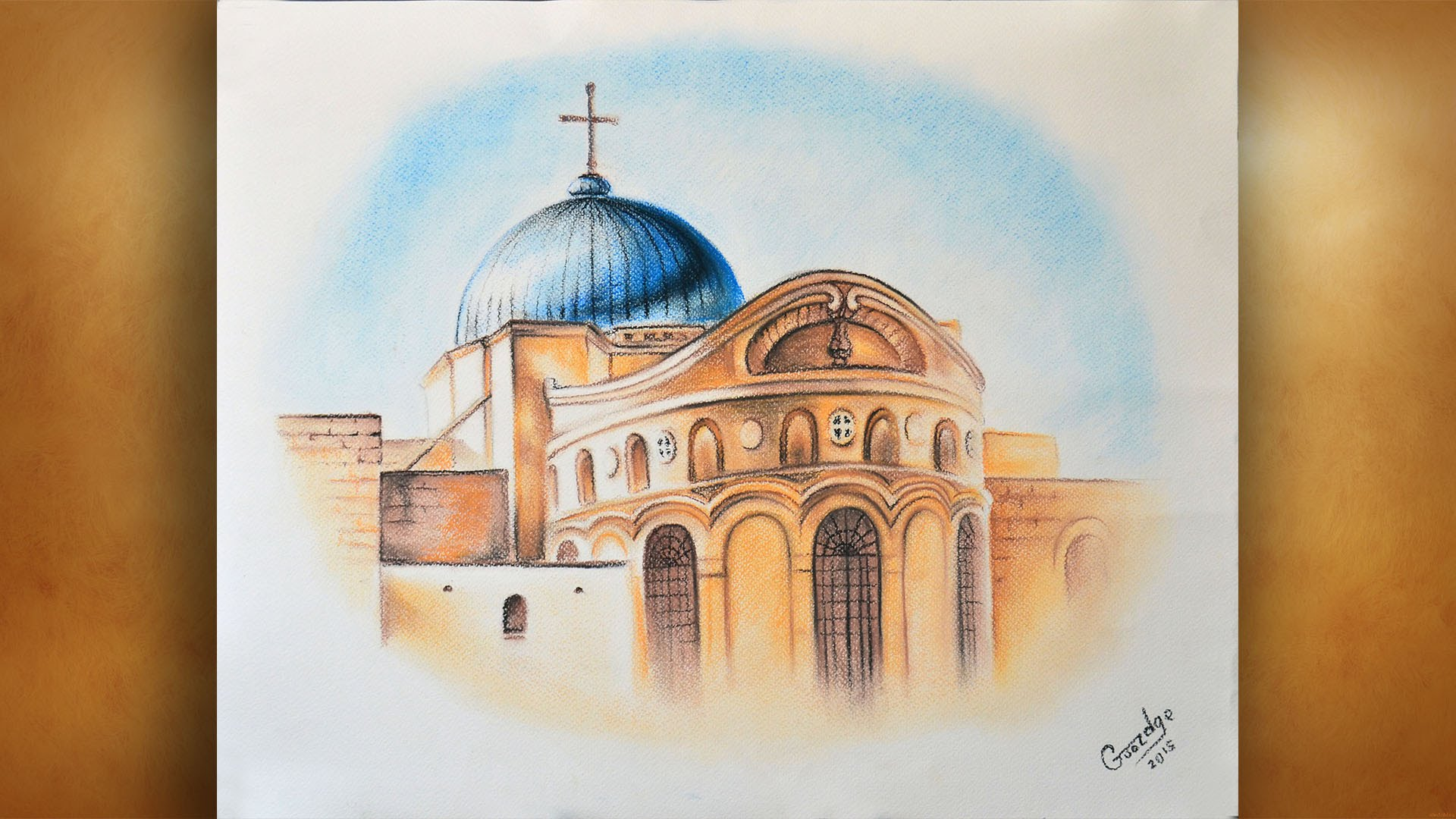 1920x1080 Drawing Church Of The Holy Sepulchre. Jerusalem. Israel. By