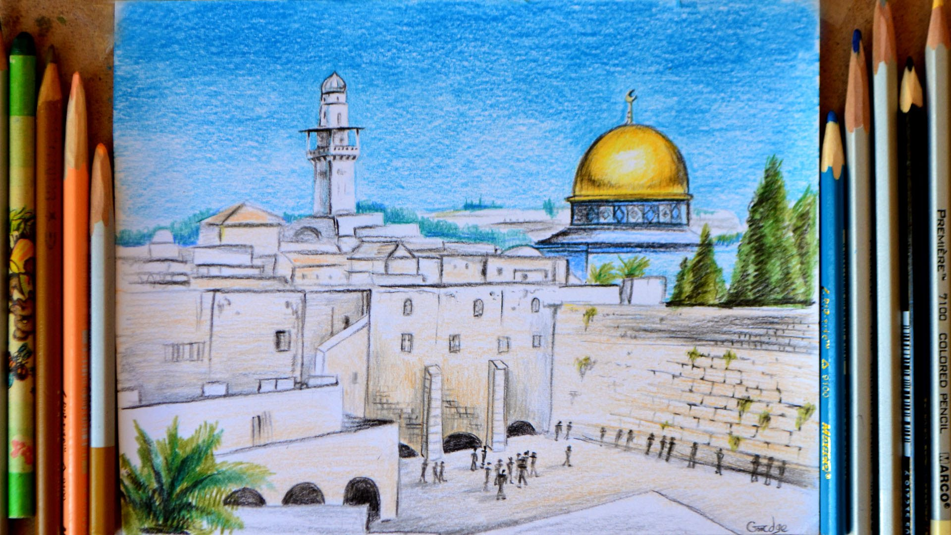 1920x1080 Drawing Wailing Wall Or Kotel. Jerusalem. Israel. By Svetlana