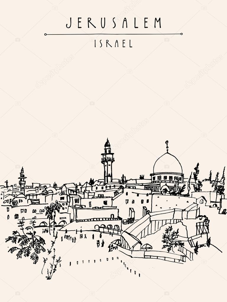 768x1024 Jerusalem, Israel Old City Skyline Stock Vector Babayuka