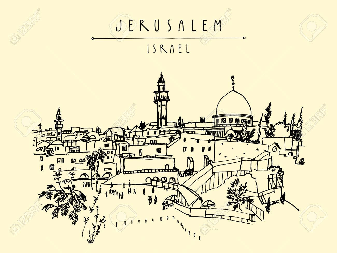 1300x975 Jerusalem, Israel. City Skyline. Wailing Wall. Hand Drawing