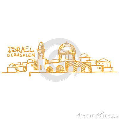 400x400 Jerusalem Skyline Drawing