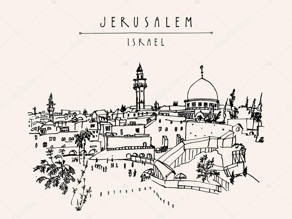 1024x768 Wailing Wall In Jerusalem, Postcard Stock Vector Babayuka