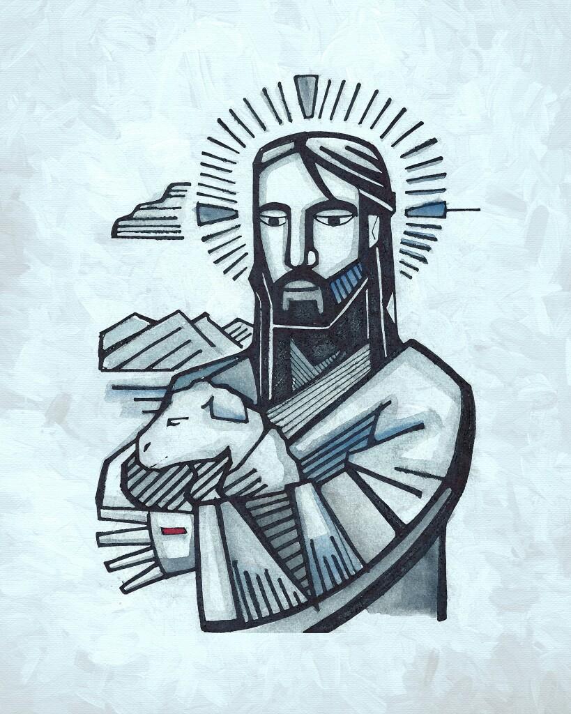 819x1024 El Buen Pastor. Abba Yeshua Lord, Prophetic Art