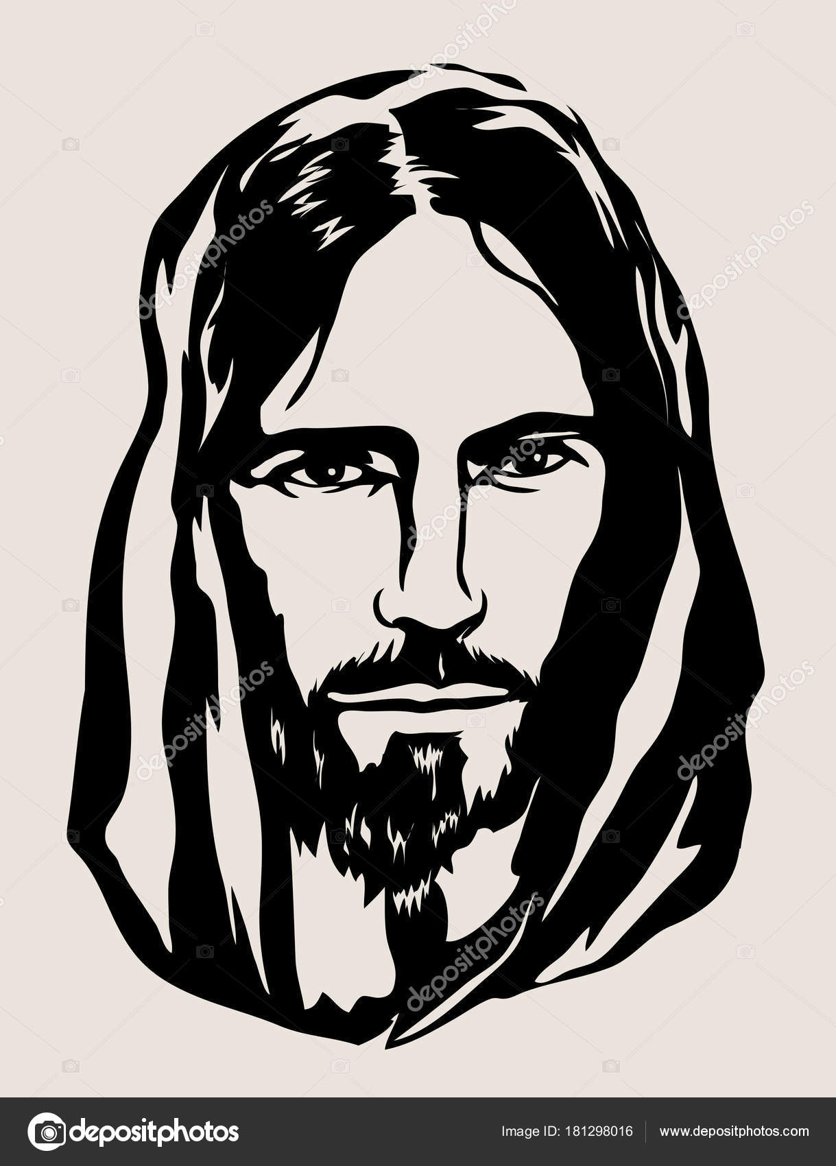 1219x1700 Jesus Christ Face Art Vector Sketch Drawing Design Stock Vector