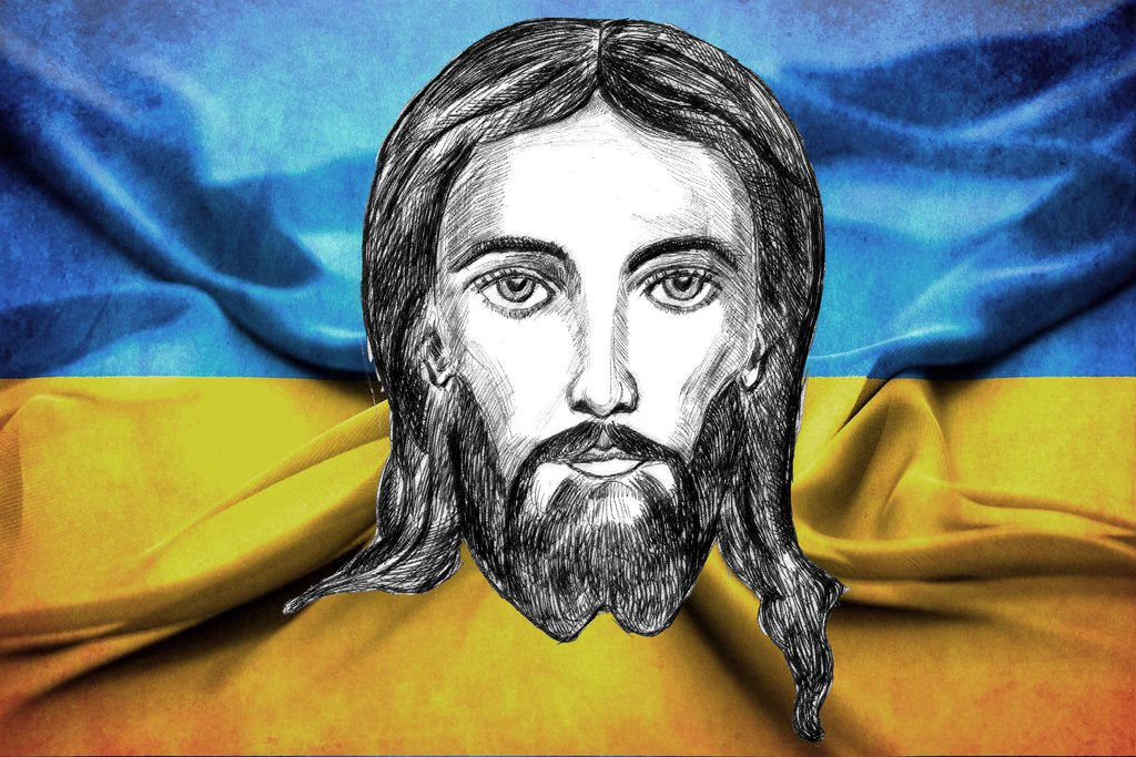 1024x683 Jesus Drawing Ukrainian Flag By Zakharii