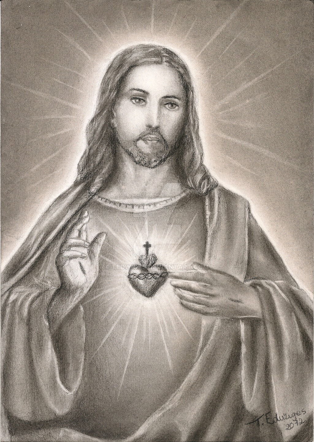 1024x1439 Sacred Heart Of Jesus By Tedwiges