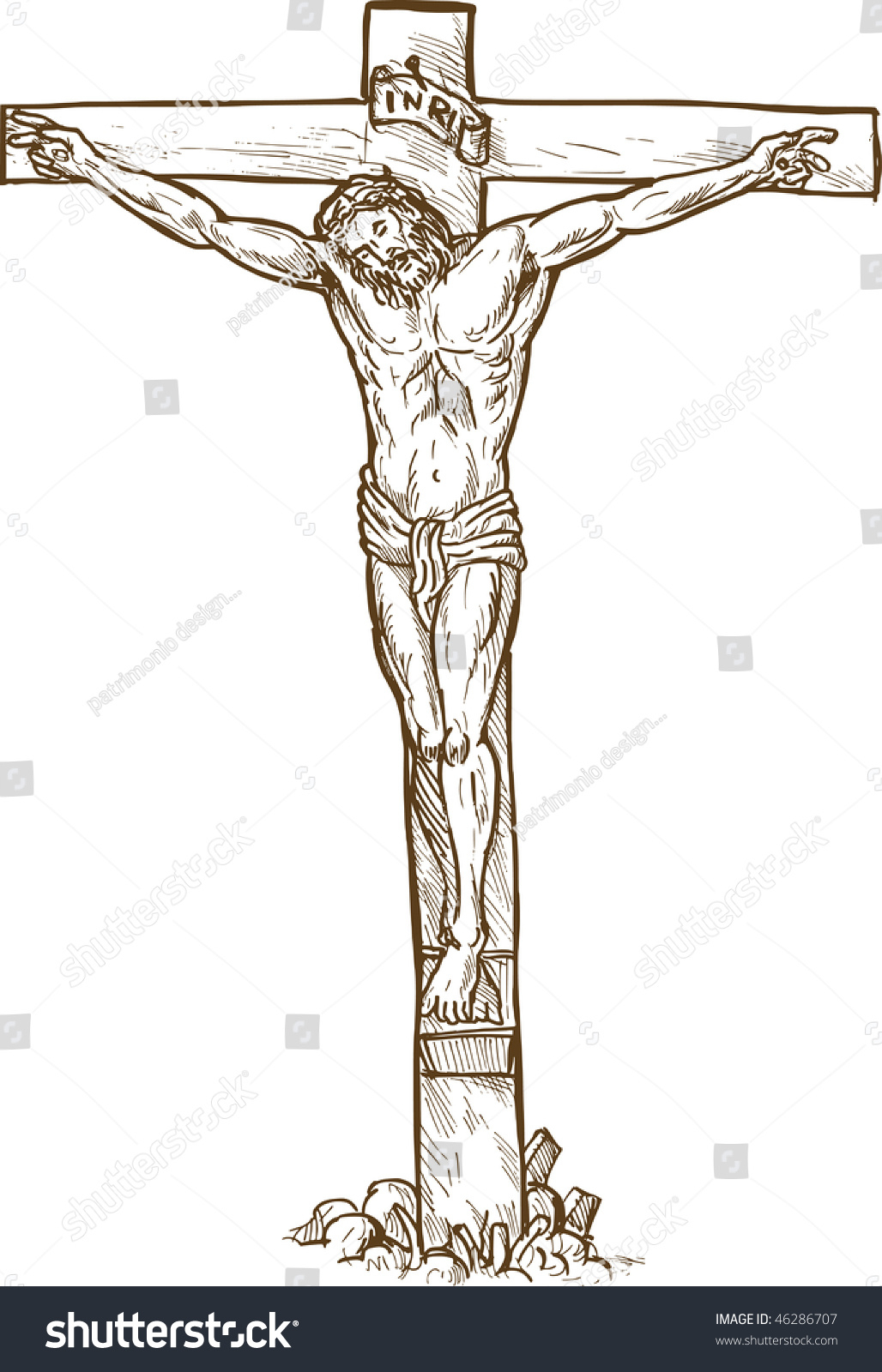 1028x1600 Realistic Drawings Of Jesus On The Cross Hand Drawn Sketch