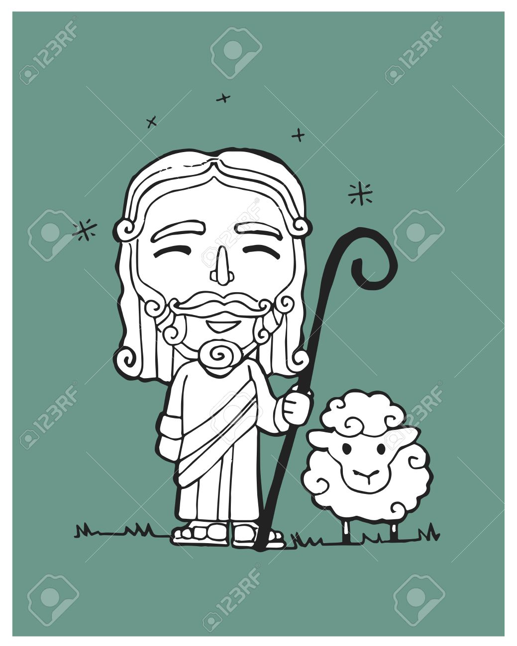 1039x1300 Hand Drawn Vector Illustration Or Drawing Of A Jesus Good Sheperd