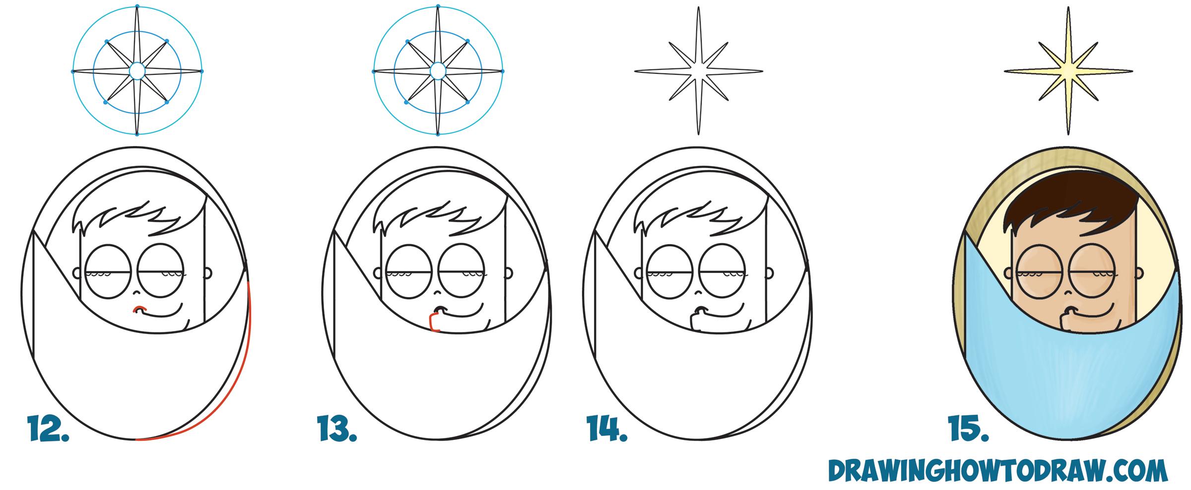 2400x989 How To Draw Cute Cartoon Baby Jesus Sleeping Under The North Star