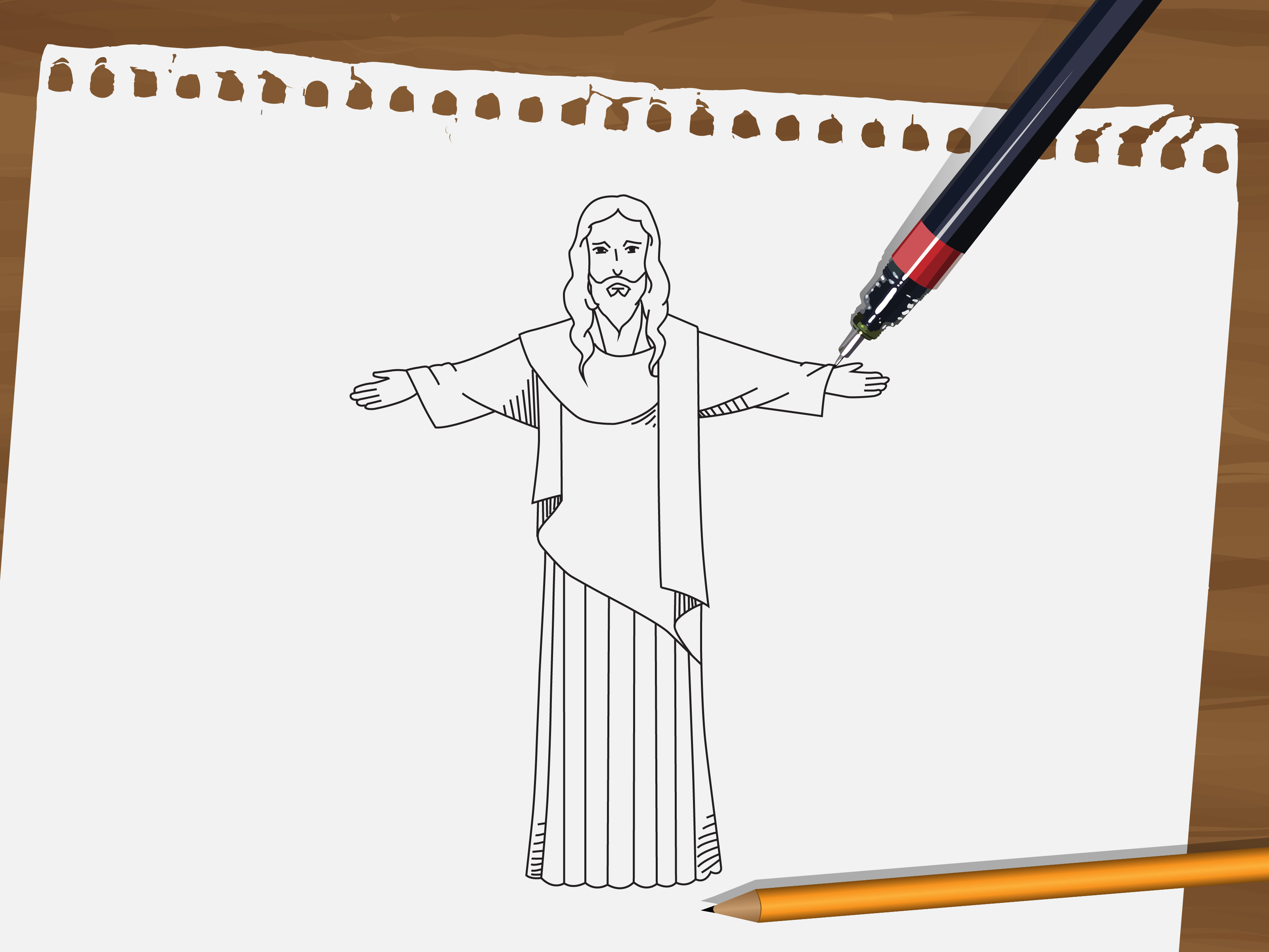 3201x2401 How To Draw Jesus 9 Steps (With Pictures)