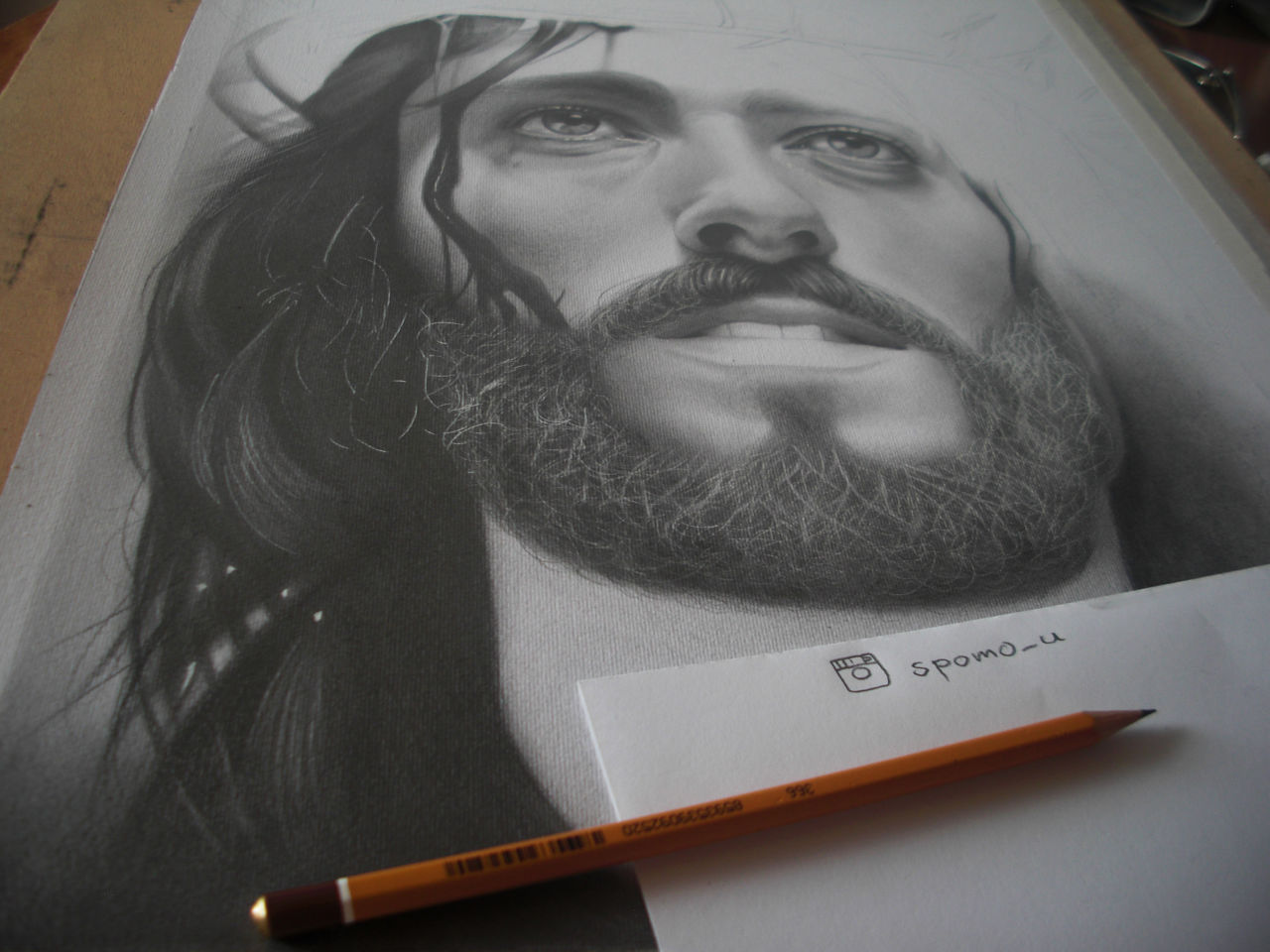 1280x960 Jesus Christ Drawing In Progress (Commissioned Work) Photoimage