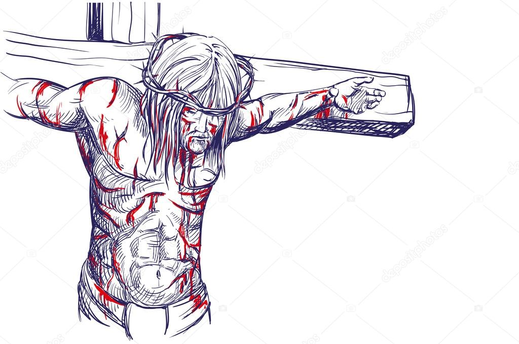 1024x678 Jesus Christ In A Crown Of Thorns On His Head, Hand Drawn Vector