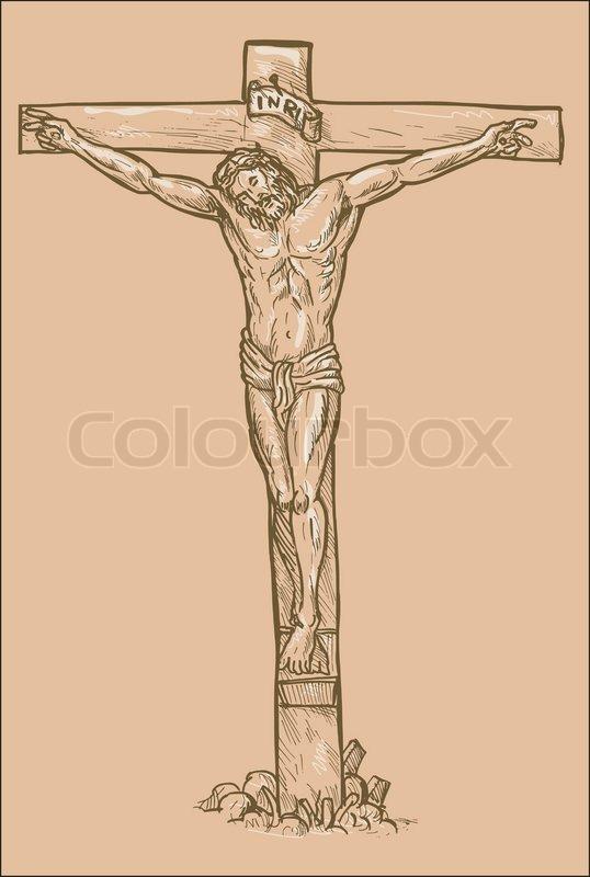 538x800 Jesus Christ Cross Drawing Stock Vector Colourbox