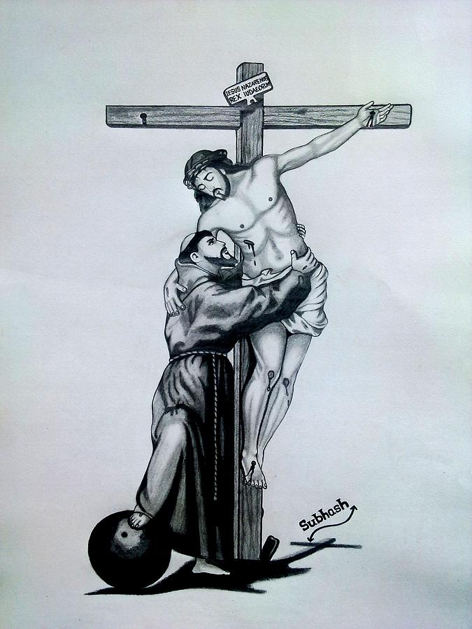 675x900 Saint Francis Of Assisi Embracing Christ On The Cross Drawing By