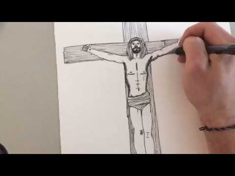 480x360 Time Lapse Drawing Jesus On The Cross (Author Sean Keys) (Music