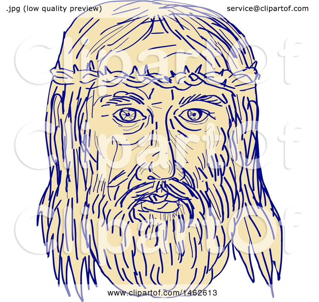 1080x1024 Clipart Of The Face Of Jesus Christ With Crown Of Thorns,
