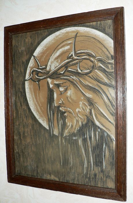 461x700 Original Chalk Drawing, Pastel With Wooden Frame, Jesus With Crown