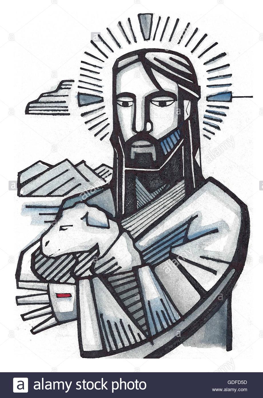 920x1390 Hand Drawn Illustration Or Drawing Of Jesus As Good Shepherd Stock