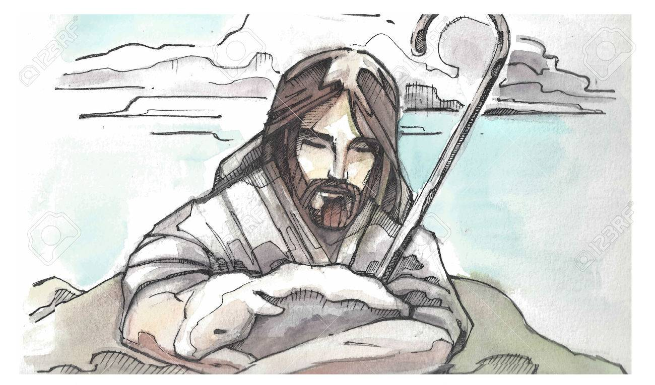 1300x765 Hand Drawn Watercolor Illustration Or Drawing Of Jesus Christ