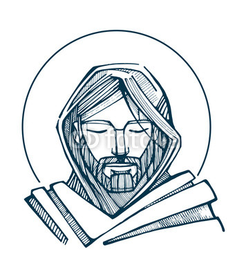 356x400 Jesus Serene Face Hand Drawn Vector Illustration Or Drawing