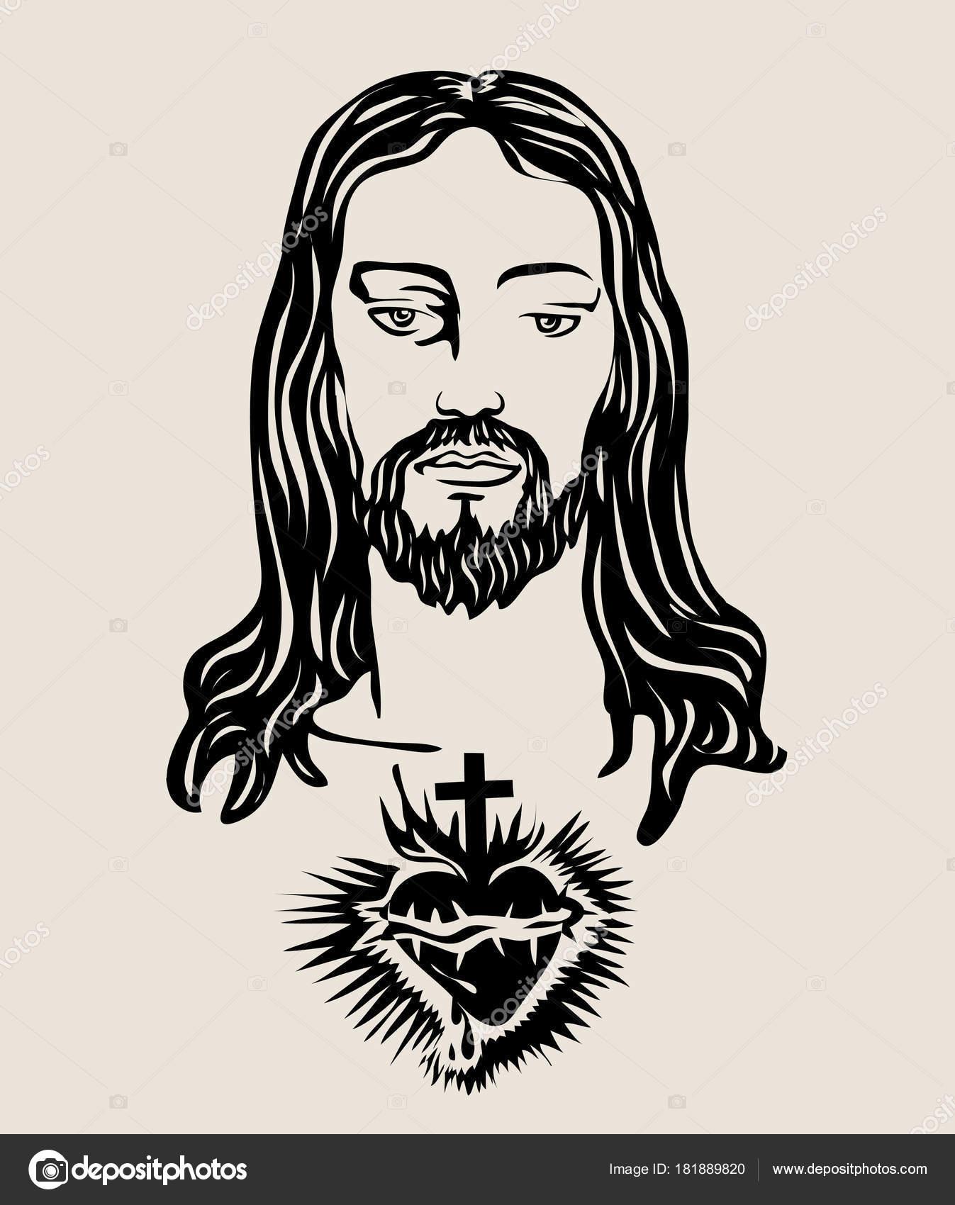 1347x1700 Face Jesus Sacred Heart Sketch Drawing Art Vector Design Stock