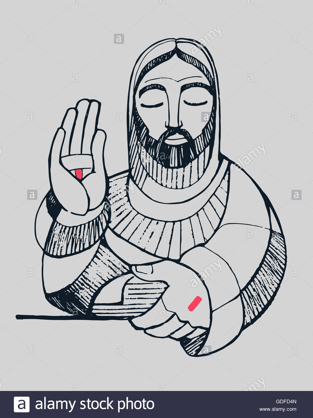 1039x1390 Hand Drawn Vector Illustration Or Drawing Of Jesus Christ Blessing