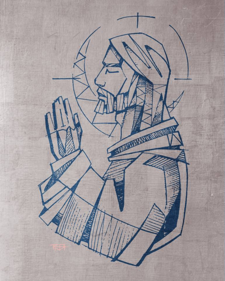 770x963 Saatchi Art Jesus Christ Praying Drawing By Bernardo Ramonfaur