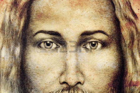 450x300 Grey Pencils Drawing Of Jesus Stock Photo, Picture And Royalty